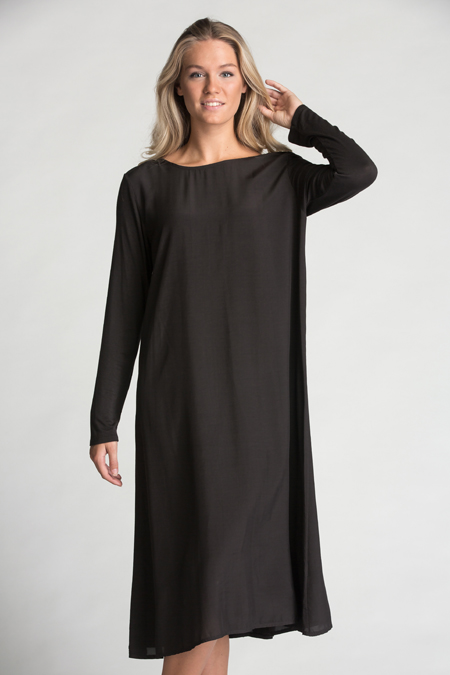 Knitted In Back Dress Charcoal
